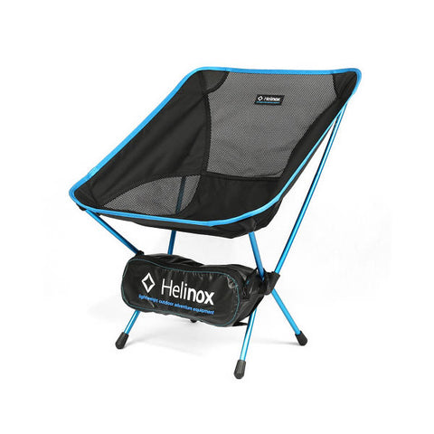 Helinox Chair One black with blue frame showing packed in bag