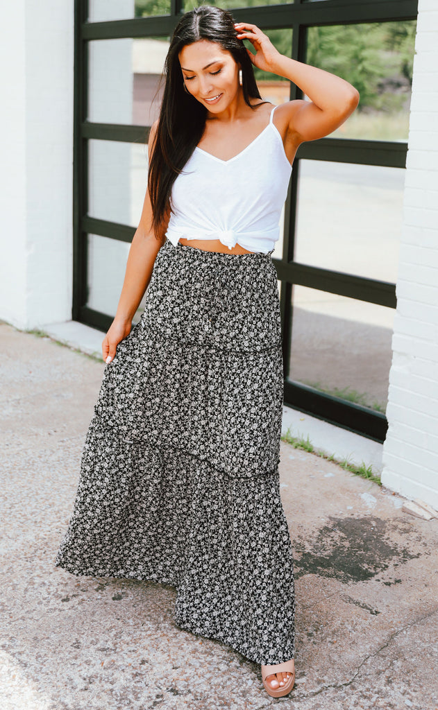 ditzy floral maxi skirt
