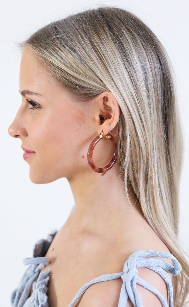 acrylic hoop earrings - tortoise