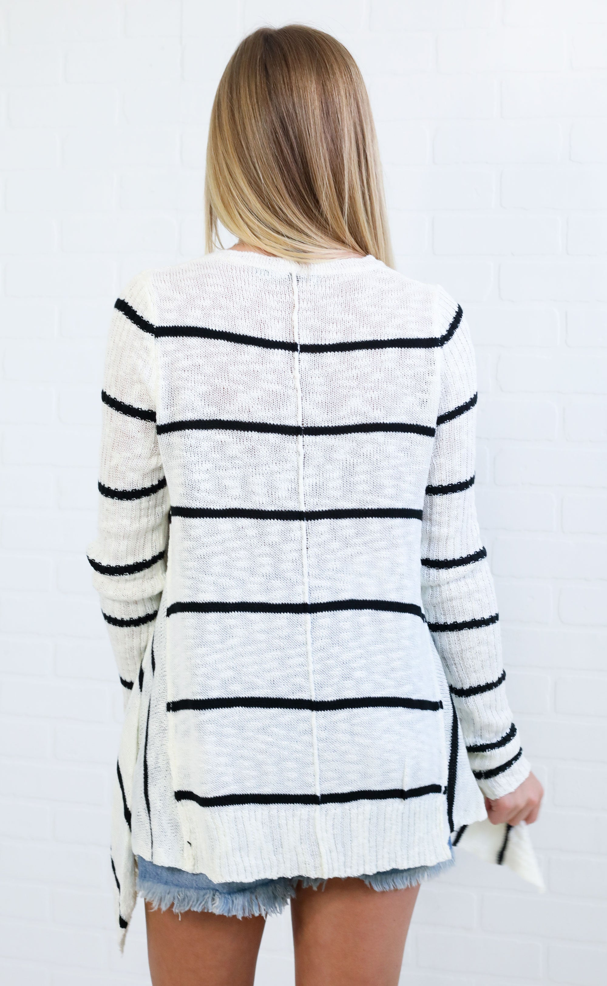 beach nights striped sweater - white