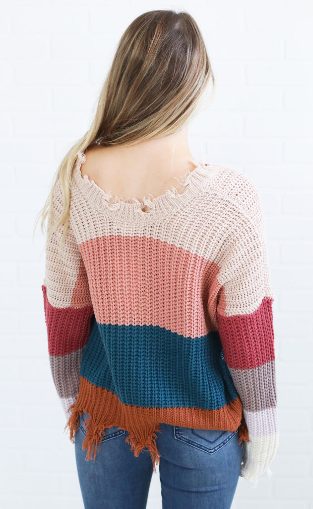 blocked in v-neck sweater - teal