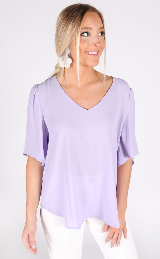 frilled to meet you basic top - lavender