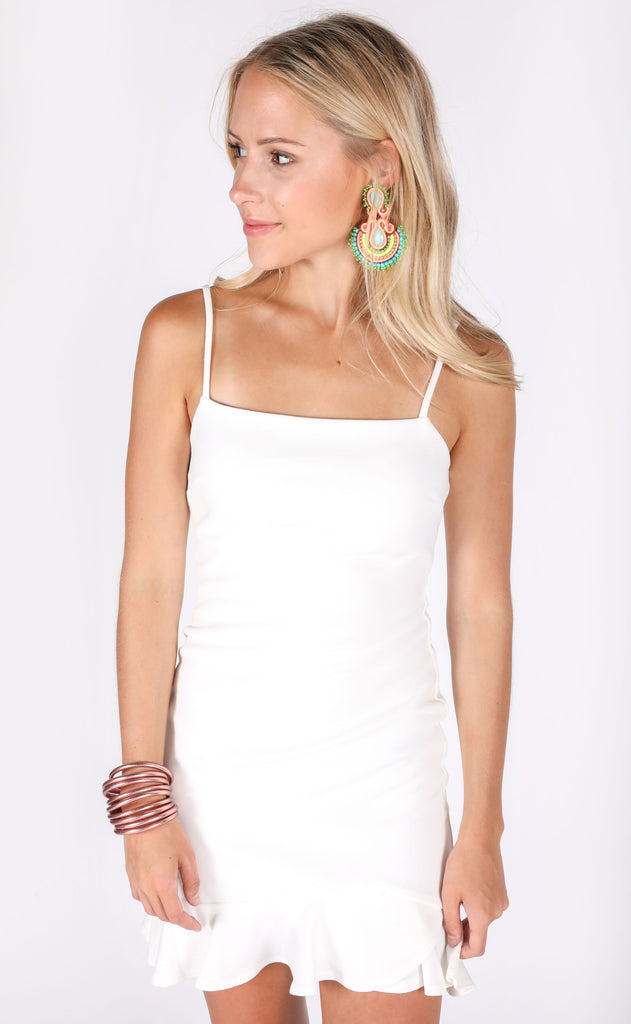 malibu ruffle dress - ivory