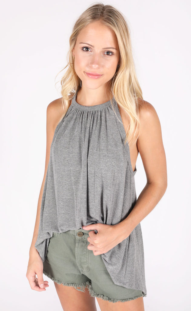 soft touch knit top - charcoal