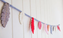 Load image into Gallery viewer, Felt feather garland-garlands-Rainbows and Clover-Galah - greys, cream, pink, peach, red-Rainbows and Clover