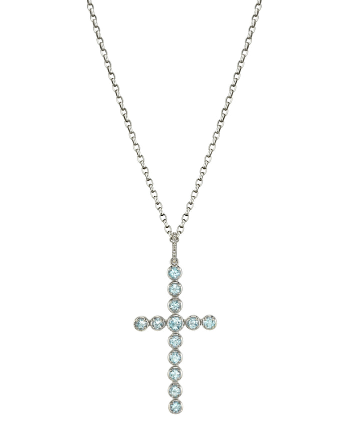 Chain Necklace With Aqua Cross Pendant