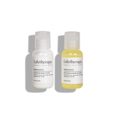 Travel set of lotion, wash, and bubble bath. Sulfate-free, paraben-free