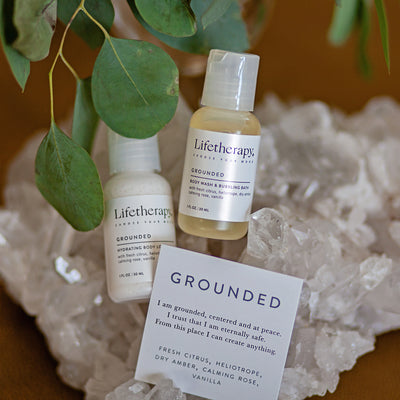 Grounded 1 ounce body lotion and body wash. Made in USA