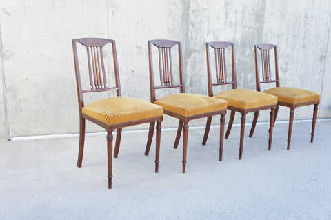 1930's Gold Velvet Inlaid Dining Chairs (set of 4)