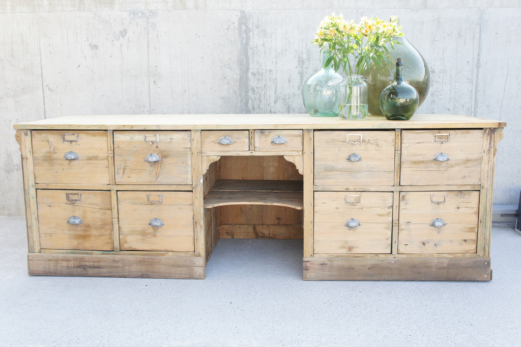19th Century Solid Pine Shop Counter Sideboard Drawers