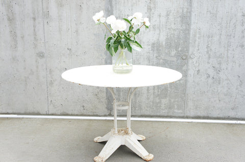 Geometric White Metal Garden Table