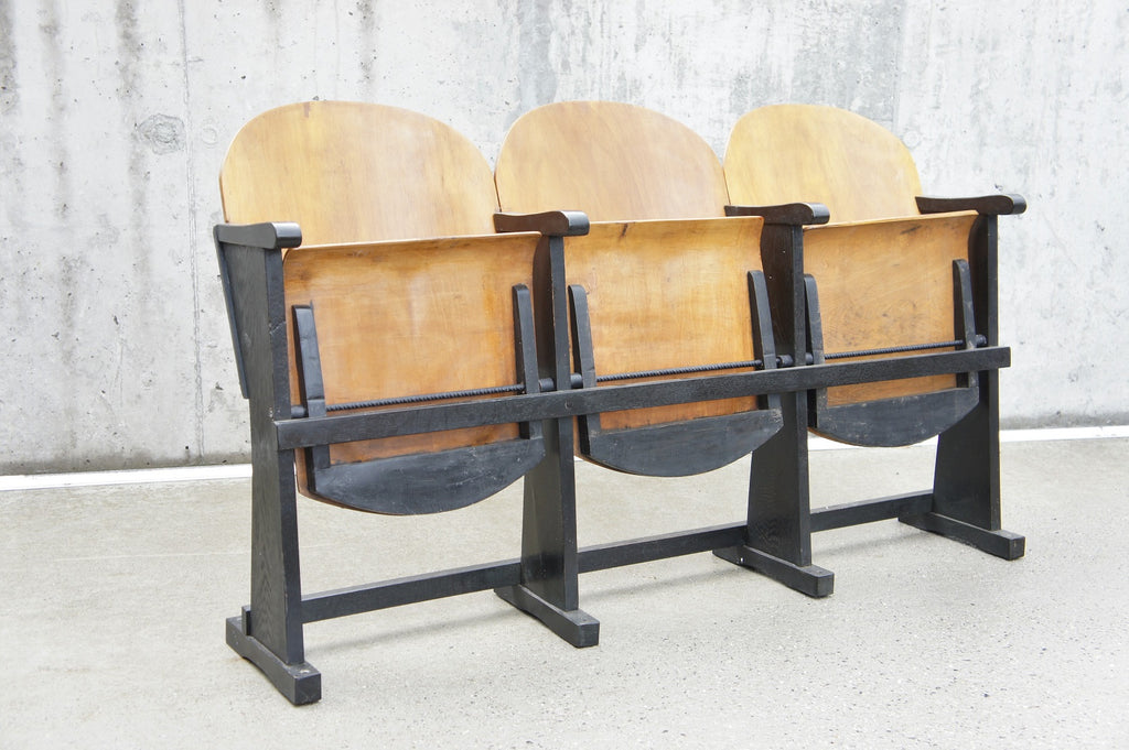 Bank of 3 Mid Century Bentwood Conference Cinema Seats