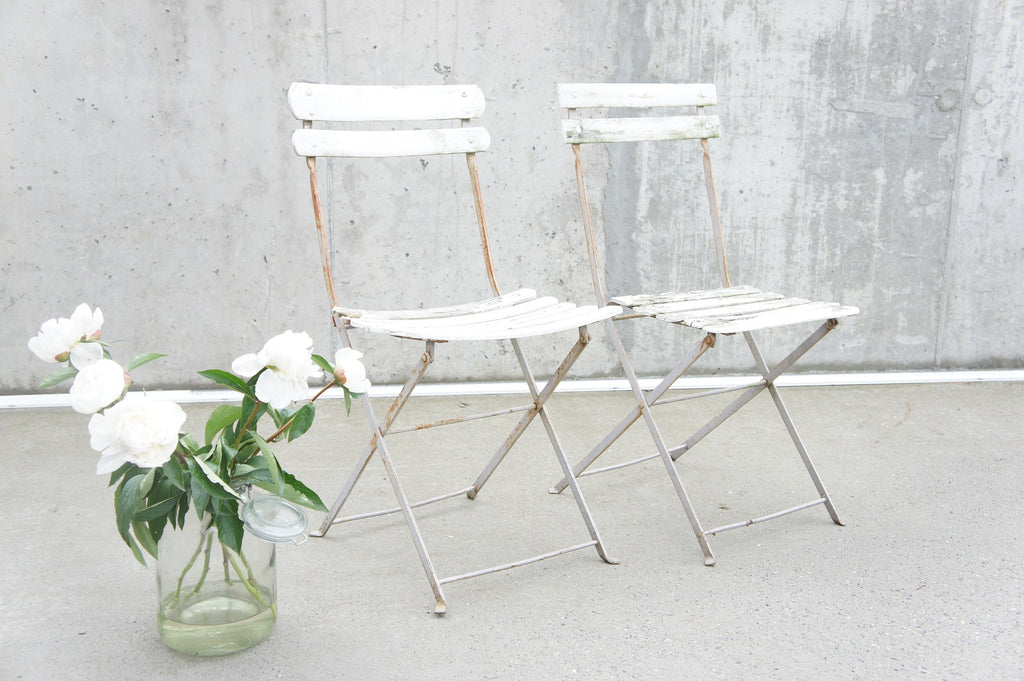 Two White Folding Bistro Garden Chairs