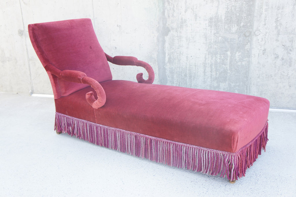Red French Chaise Longue to Reupholster