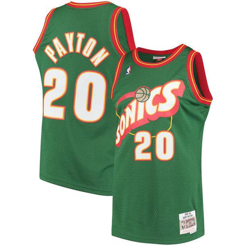 Men's Seattle SuperSonics Gary Payton Mitchell & Ness Green 1995-96 Hardwood Classics Swingman Jersey