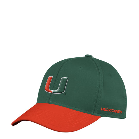 Miami Hurricanes Green/Orange Climalite Coach Official Sideline Flex Fit Adidas Hat