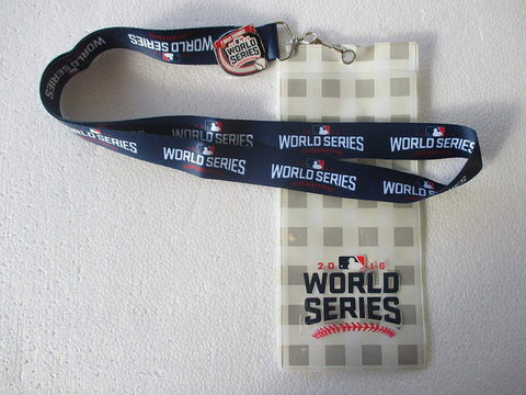 "MLB 2016 World Series Lanyard with Ticket Holder with Collectible ""I Was There!"" Pin"