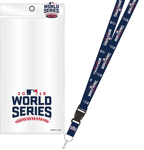Chicago Cubs 2016 World Series Lanyard w/ Ticker Holder and Souvenir Pin