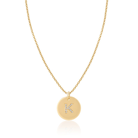Medium Disc with Diamond Letter Necklace on Bale