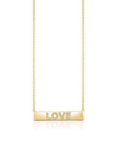 Bar Necklace with Diamond LOVE