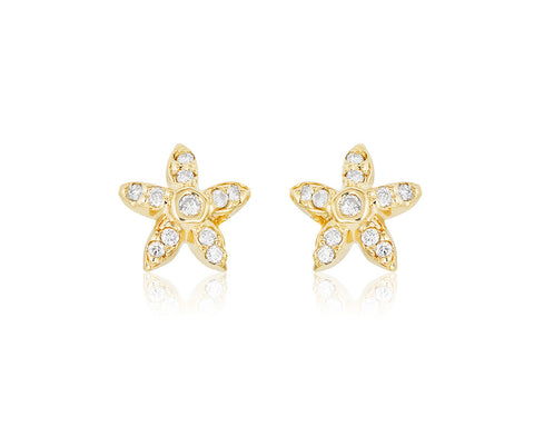 Small Diamond Starfish Earrings