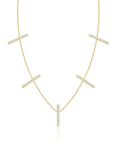 Five Vertical Diamond Bars Necklace