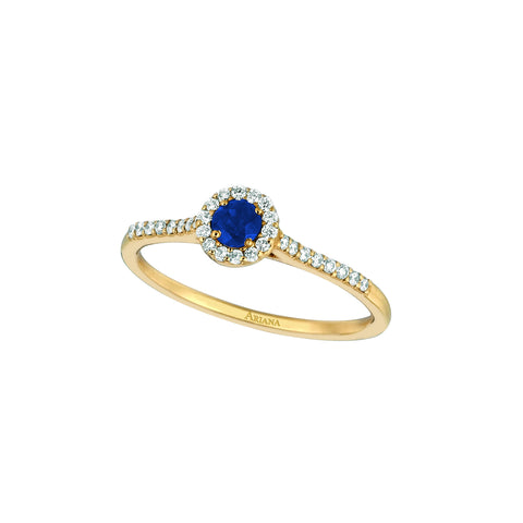 Blue Sapphire Center with Pave Diamonds Ring