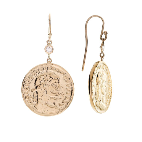 Large Coin and Diamond Earrings