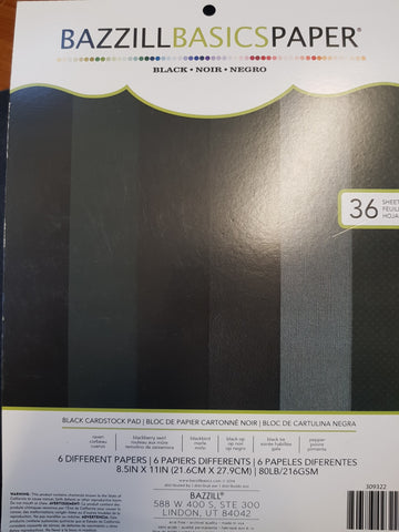 Bazzill Basics Paper Black 6 Different Papers