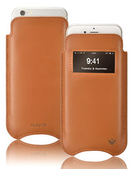 iPhone 8 / 7 Pouch Case in Tan Napa Leather | Screen Cleaning and Sanitizing Lining | Smart Window
