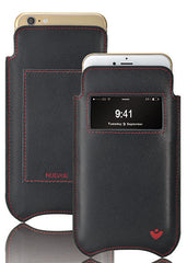 iPhone 8 / 7 Wallet Case in Black Napa Leather | Screen Cleaning Sanitizing Microfiber Lining | Smart Window.