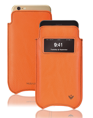 iPhone 8 Plus / 7 Plus Pouch Case in Orange Faux Leather | Screen Cleaning and Sanitizing Lining | Smart Window