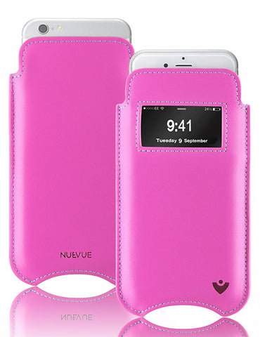 iPhone 8 / 7 Sleeve Case in Pink Napa Leather | Screen Cleaning Sanitizing Lining | Smart Window.