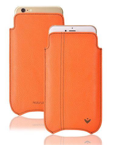 iPhone 6/6s Pouch Case in Orange Vegan Leather | Screen Cleaning Sanitizing Case.