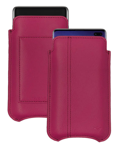 Samsung Galaxy S10+ Samba Red Leather Wallet Screen Cleaning Case | NueVue