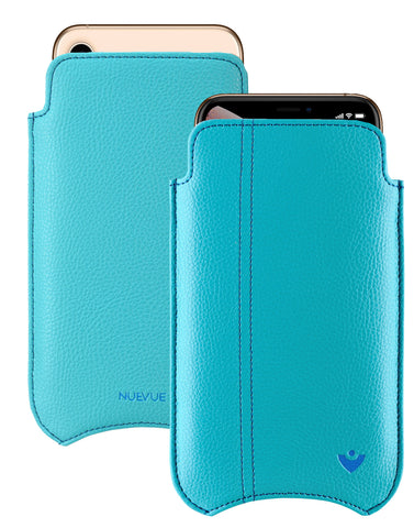 NueVue iPhone Xs Max Case Faux Leather | Teal Blue | Sanitizing Screen Cleaning Case