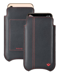 NueVue iPhone XR Wallet Case Napa Leather | Black | Sanitizing Screen Cleaning Case