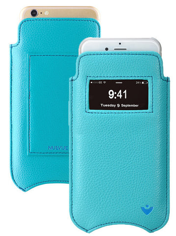 iPhone 8 Plus / 7 Plus Wallet Case in Blue Faux Leather | Screen Cleaning Sanitizing Lining | Smart Window