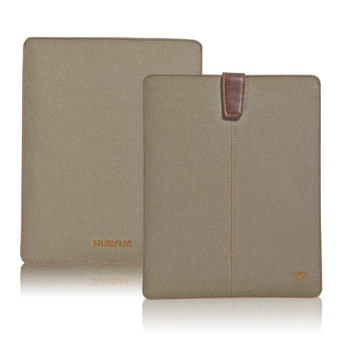 iPad Sleeve Case in Khaki Cotton Twill | Screen Cleaning Sanitizing Lining.