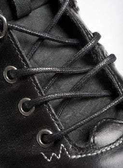 Round Waxed Black Cotton Shoe Boot Laces