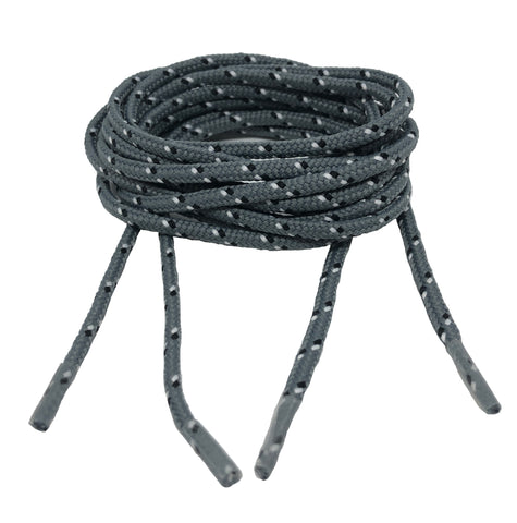Round Patterned Strong Shoelaces/Bootlaces Grey Black White - 4mm wide