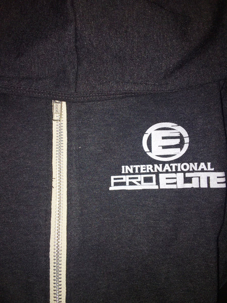International Pro Elite (IPE) Unitsex Tri-blend Full-Zip Lightweight Hoodie - Charcoal Grey