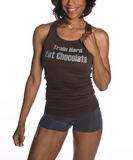 Women's Train Hard Eat Chocolate Racerback Tank Top