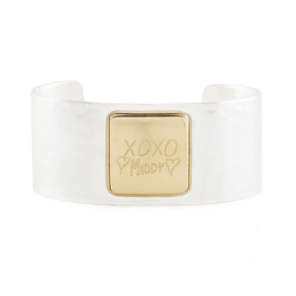 Custom Handwriting/Image - Square Silver Cuff with Gold Square