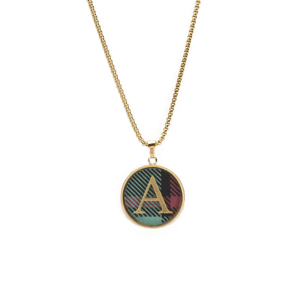 Jackie Necklace with Custom Single Initial Monogram - Plaid/Gold and Silver