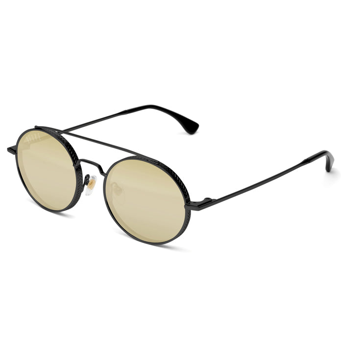 9Five 50-50 Blackout Gold Mirror Sunglasses