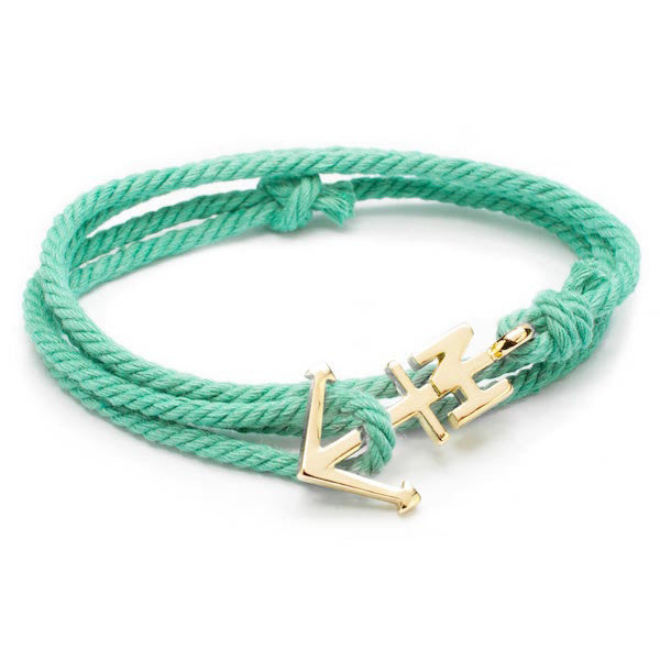 Nautical Gold Anchor Mint Bracelet
