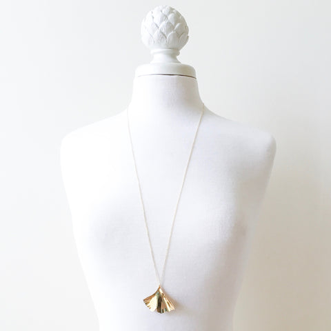 long necklace large ginkgo pendant by Erica Bapst Designs | Adorn Jewelry and Accessories | Canandaigua NY
