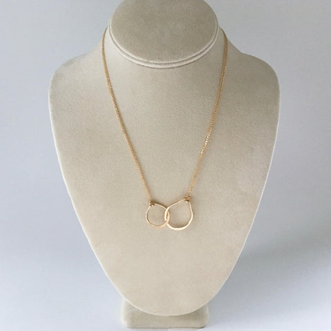 Handmade gold filled necklace with interlocking teardrops