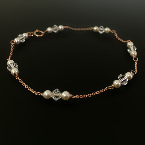 dainty rose gold chain and creamrose pearl bracelet